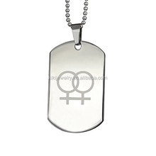 Simple Double Female Symbols Stainless Steel Lesbian Dog Tag Pendant Necklace