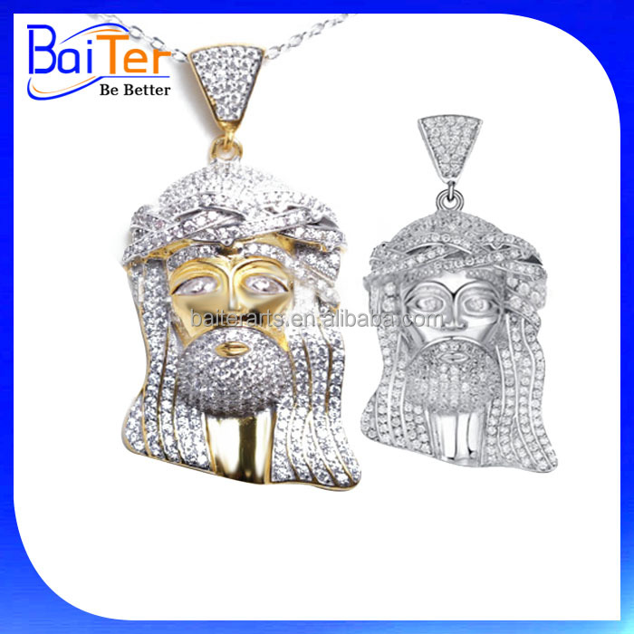 White Gold Plated Cubic Zirconia 925 Sterling Silver Jesus Pendant/Hip Hop Diamond Jewelry/CZ Micro Paved Jesus Piece