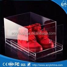 2015 Customized Wholesale acrylic nike shoe box with drawer, custom printed shoe box