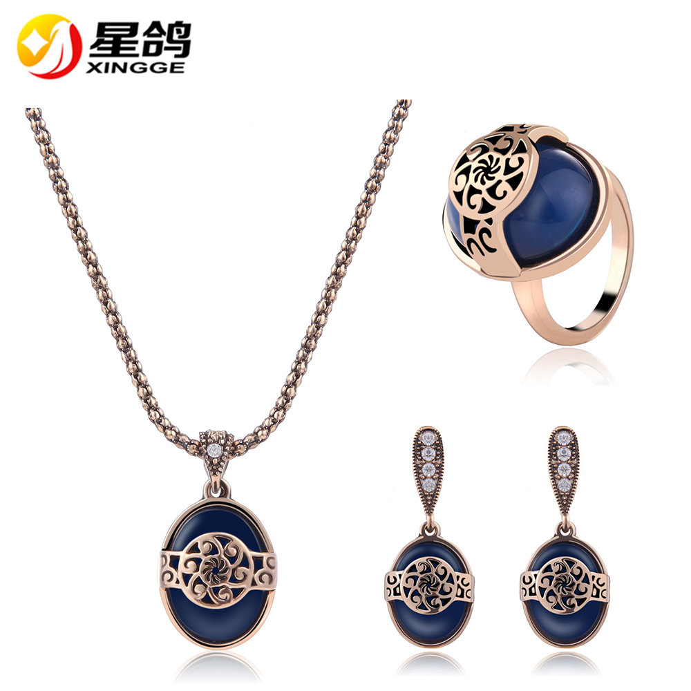 Wholesale African Jewelry Sets Collar Statement Necklace Earrings Ring For Women Imitated gem Wedding Jewelry Set Accessories