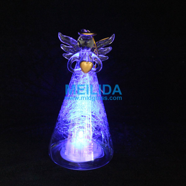 Wholesale Light Up Glass Angel Ornament