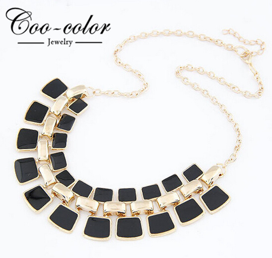 Trendy Necklaces Pendants Link Chain Collar Long Plated Enamel Statement Bling & Fashion Necklace for  Women  2015