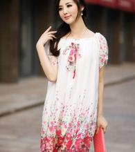 New fashion short sleeve floral print wholesale best selling women clothes loose summer chiffon fat ladies dress