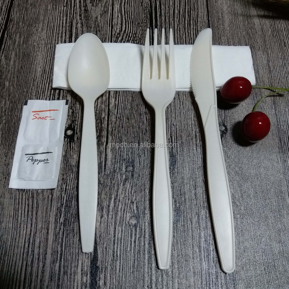4 Pieces Biodegradble Cutlery Set with Salt and Pepper