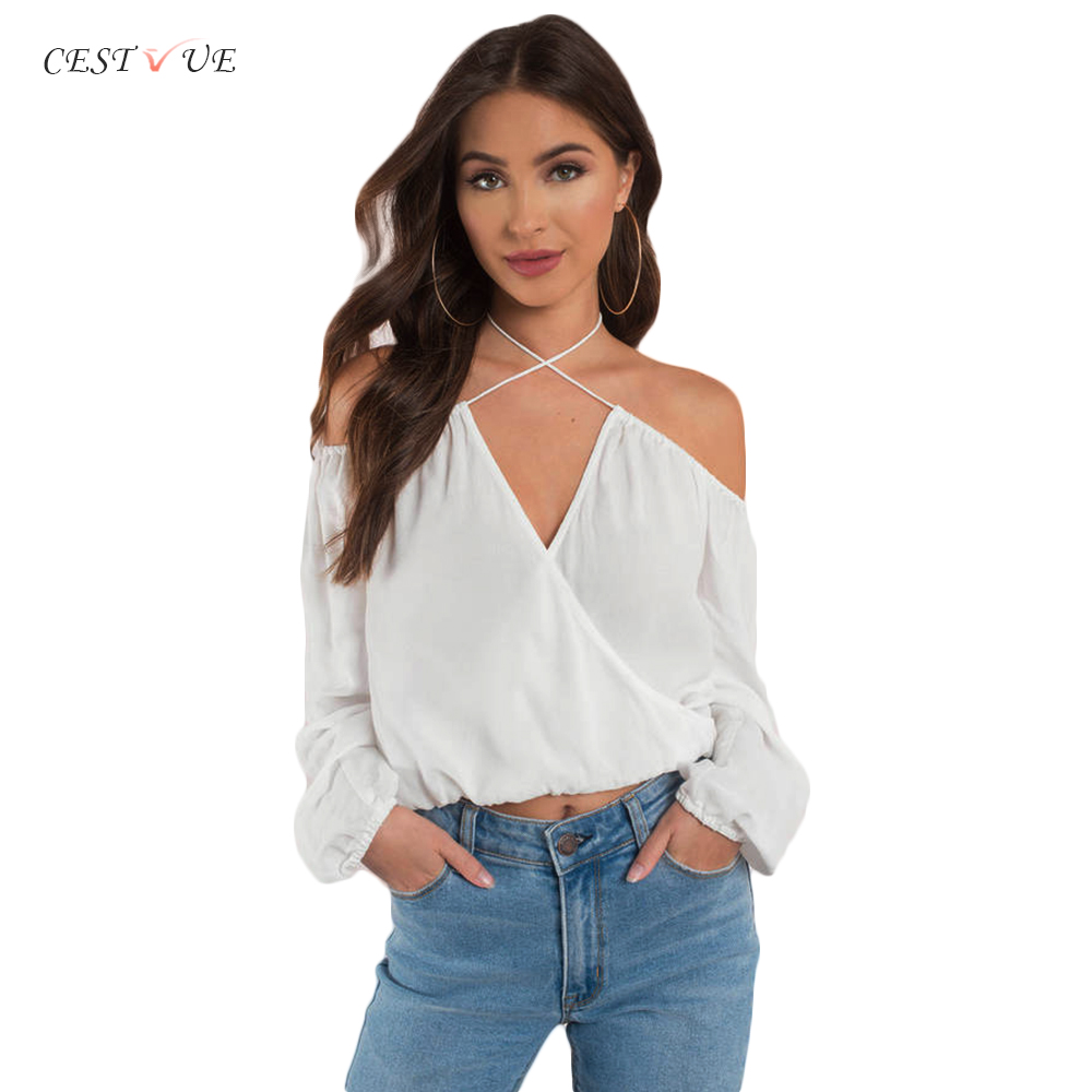 Wholesale Fashion Collection Ladies Crop Casual Wrap Blouse Spaghetti Straps Tops Off Shoulder Chiffon Slim Fit Blouse Design