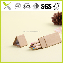 6 pcs 3.5 inch wooden sharpened promotion kids Color Pencil set passed EN71