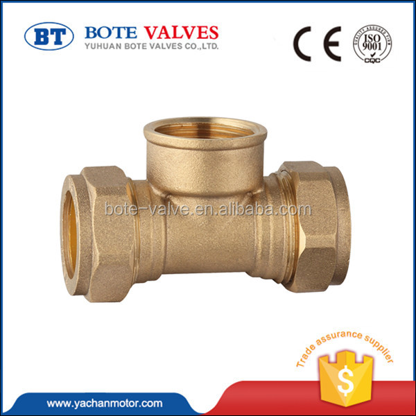 new design brass four way tee pipe fitting valve