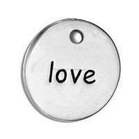 Wholesale Metal Hearts Love Stamped Logo Charm