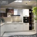 Ninety Degree high gloss kitchen cabinet with open cabinet
