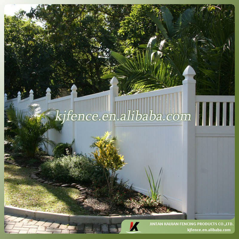 6ftx8ft(1.83mx2.44m) picket top white color Semi-privacy PVC/Vinyl plastic fence