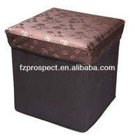 Wholesale home collapsible fabric foldable pouf storage ottoman