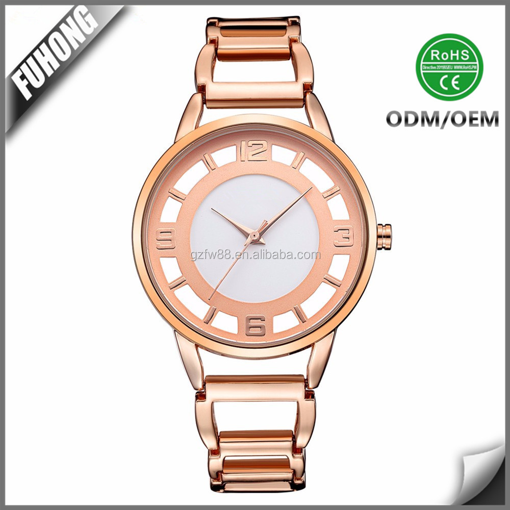 Custom logo 3ATM water resistant Rose Gold lady watch