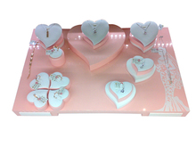 Acrylic lacquer romantic heart shape display set for ring pendant in showcase