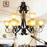 Indoor Lighting Iron Chandelier with 9 light glass cover for lobby