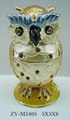 home decor bejeweled metal trinket box owl