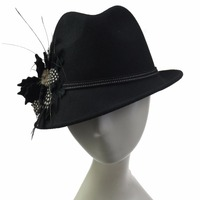 Cheap Black Ladies Wool Felt Fedora Hat For Derby Party