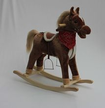 professional customized plush rocking horse on wheels with music&movement for kids (EN71-1,2,3)