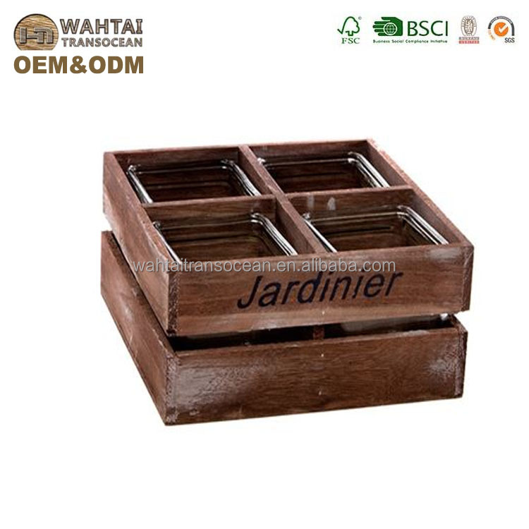 Wholesale industrial farmhouse wooden crate with 4 pots,candle plant herbs storage