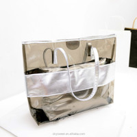 Two piece set pvc clear tote beach bag supplier, stripe beach bag supplier(SWTJU1828)