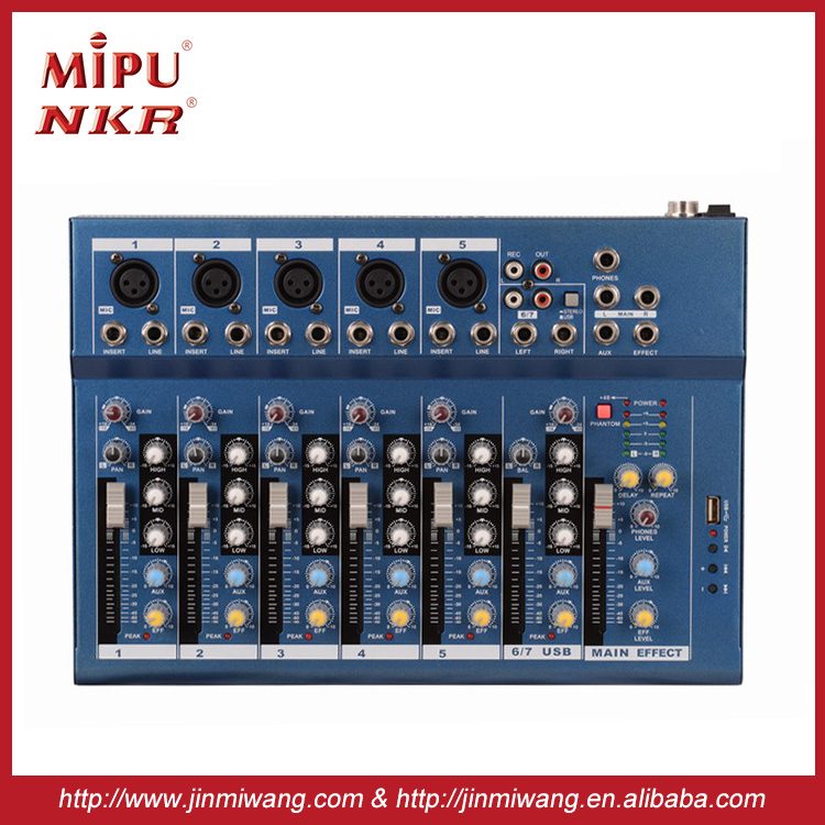 High Quality Professional Audio Mixer NKR F7-USB Professional sound power mixer
