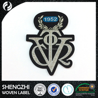 Garment, shoes, Bags, Metallic silver design woven patch for clothing patches