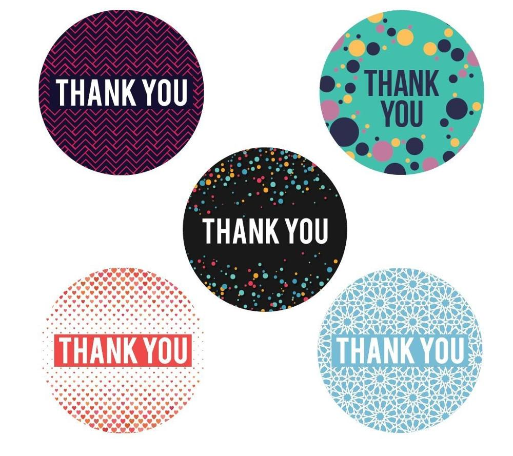 5 assorted geometric designs thank you stickers 500 self adhesive round labels per roll
