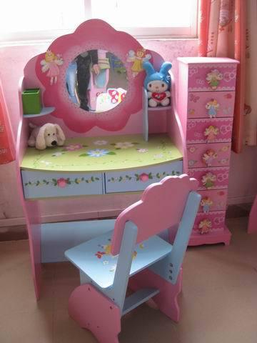Mode prinses kinderen houten kaptafel met spiegel dressing kruk in meubels andere kinderen - Kruk voor dressing ...