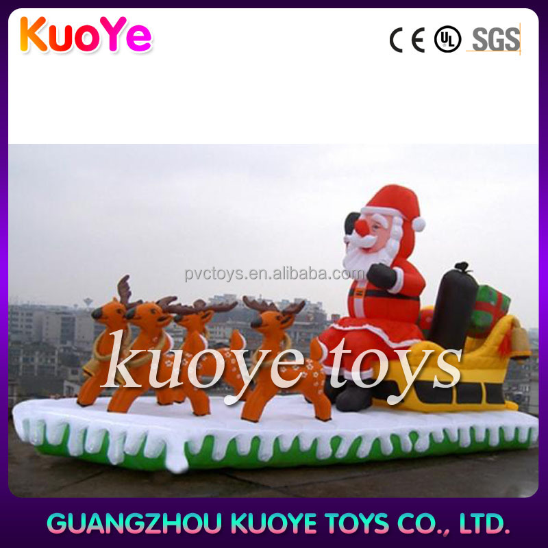 inflatable Christmas santa with deer,outdoor decoration inflatable Christmas santa Claus, inflatable christmas father with deer