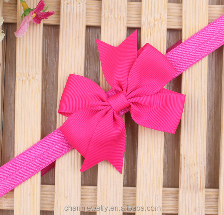 NEW grosgrain ribbon Girl hair bow Headbands Boutique +girls elastic hair bands+hair accessories for kids BTS006