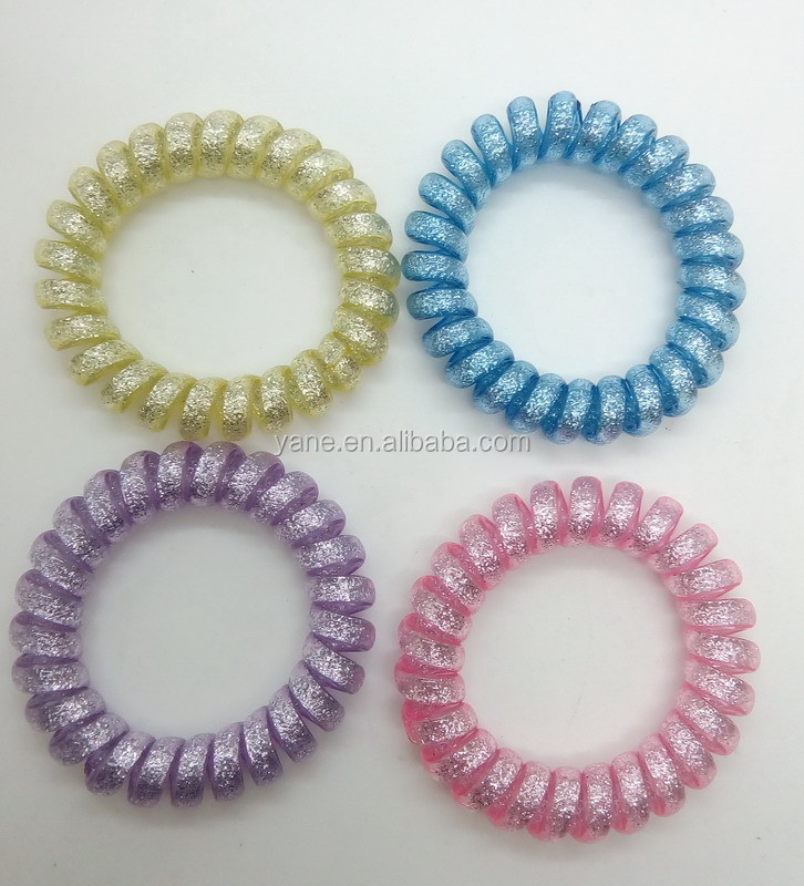 glitter telephone wire bands,traceless hair rings with TPU hair bands