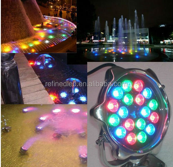 12W RGB 12V/24V stainless steel IP68 underwater led lights for fountains