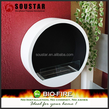 2017 indoor used bio ethanol wall mounted round glass fireplace