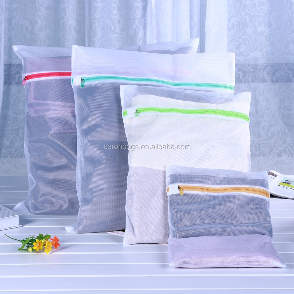 wholesale cheap colorful crystal head zipper packaging clothing mesh laundry mesh bag
