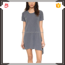 Dropped shoulder designed t shirt dress grey assymetry looking t shirt dress