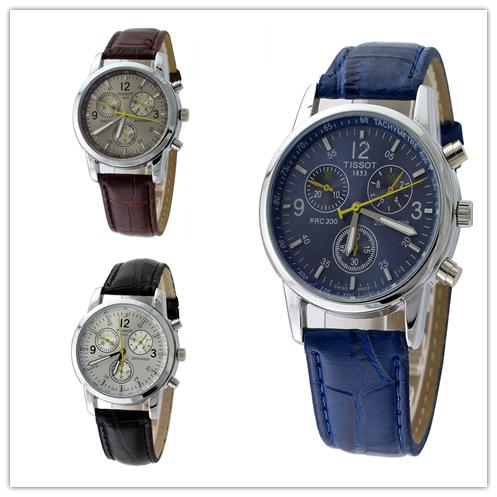 Fashion Luxury Brand Leather Men's Watches Top Grade Business Quartz Watch For Men 2015 Male Dress Wristwatch Relogio Masculino