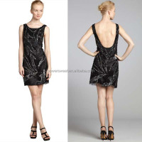 Latest lady Sexy Mesh Black Sleeveless Short Backless Dress Patterns