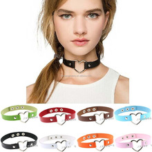 Women Favorite Leather Rivet Punk Goth Heart Ring Collar Choker Funky Necklace