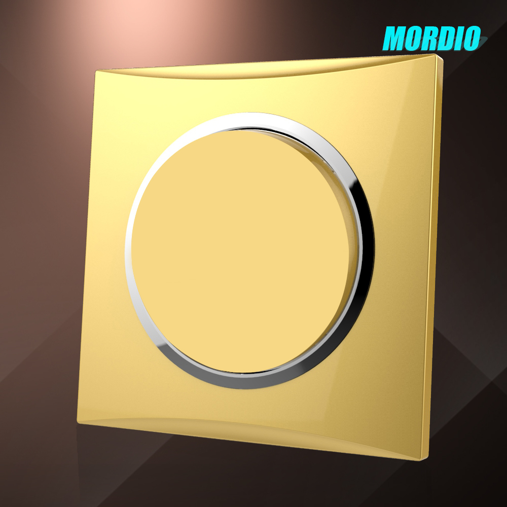 2015 New design Gold 1 gang 1way wire drawing frame switch electrical switch BS standard 10A wall switch
