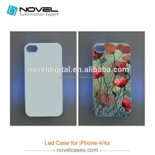 New DIY Sublimation LED Mobile Phone Case for iPhone 4/4S, LED Cell phone case for 4S