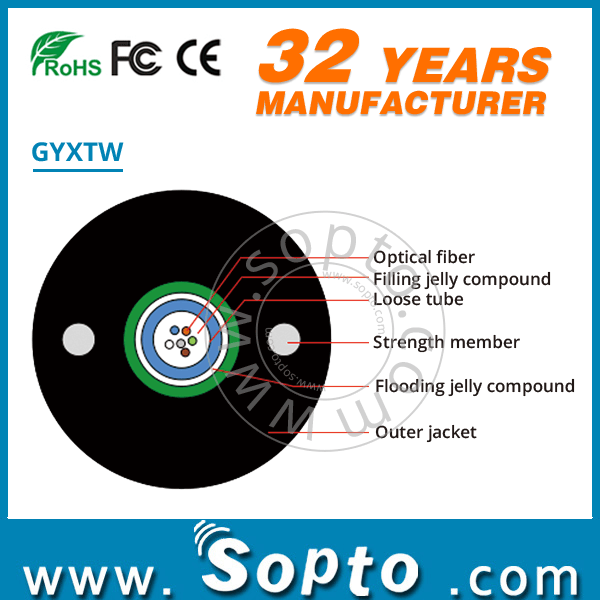 Metal Strength Member GYXTW Fiber Optic Cable With 2-24Cores Optic Fiber