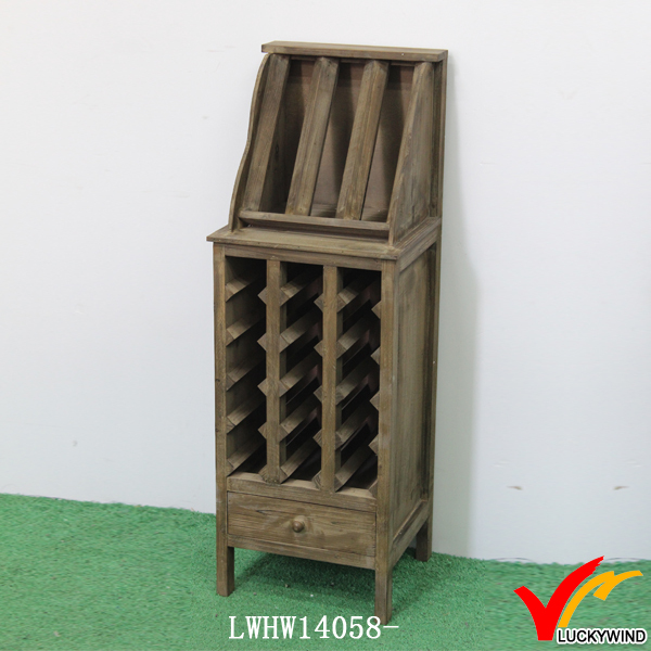 Manmade Distressed Floor Stand Antique Wood Wine Rack