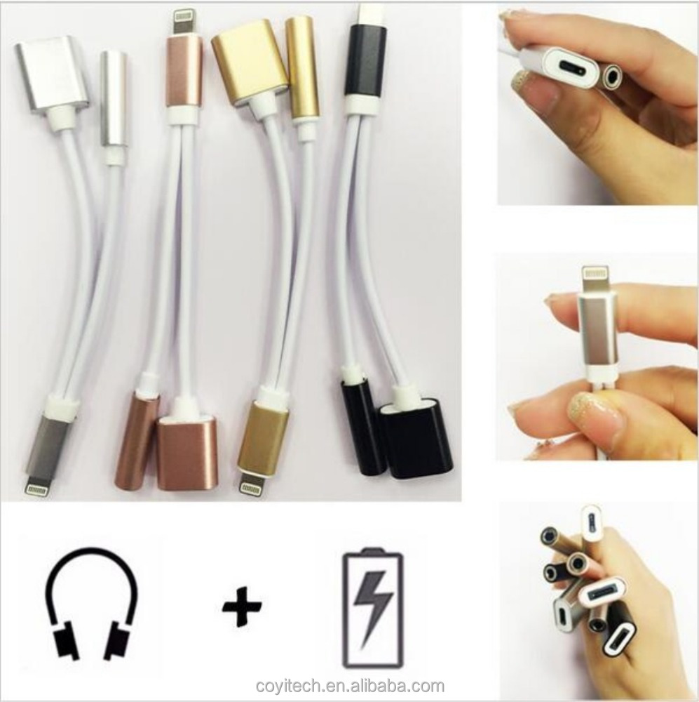 For iPhone 7 Plus to 3.5mm Headphone Earphone Audio Jack Adapter 2 In 1 Connector Cord Charger Cable Line for iPhone 7
