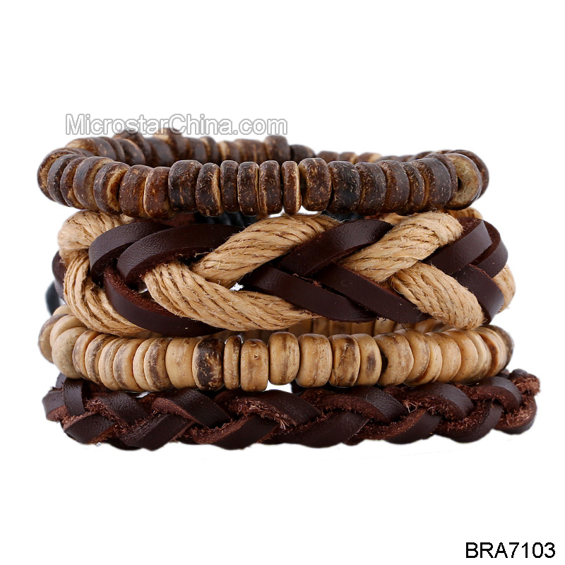 1 Set 4 piece Multilayer Leather Men's Jewelry Love Vintage Bangles Gift Boho Rock Wood Beads coconut shell Bracelets For Women