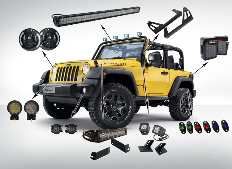 Led Light Bar Led Work Light Switch Control Panel For Jeep Wrangler