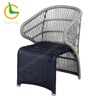 Grey know down rope woven armrest outside chair