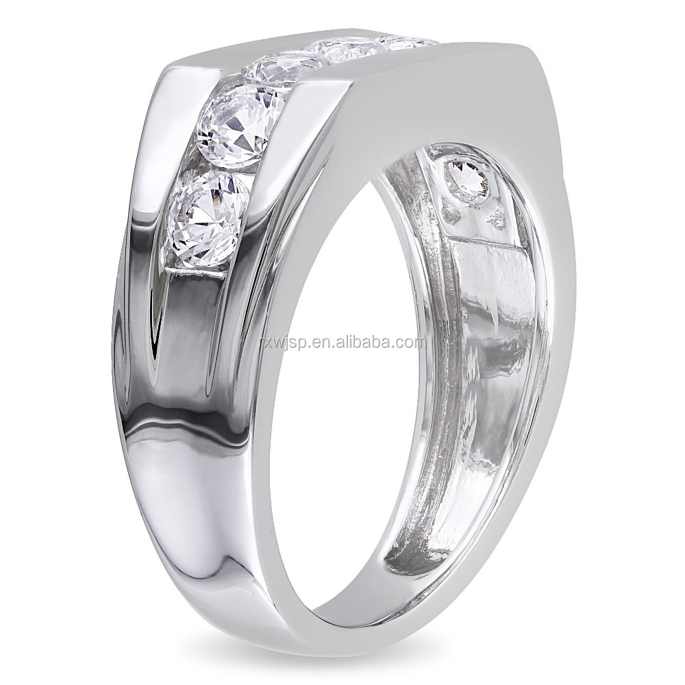 stainless steel gold plated Channel-set Created Men's Wedding Band Ring