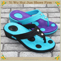 Sexy Rivets Design Pu Floral Wedge Sandal For Wowomans Summer Popular Latest Girls Beach Slipper