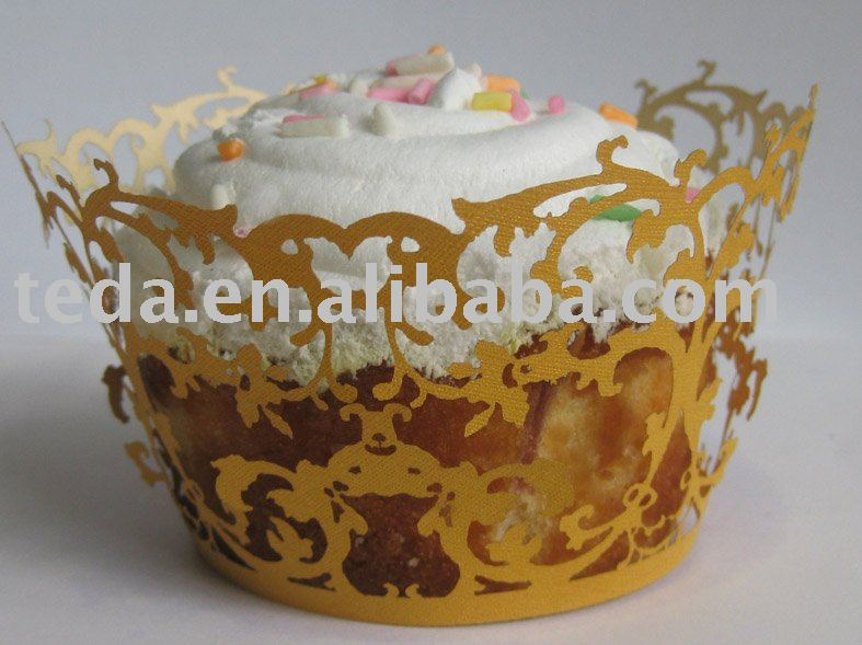 Laser cut filigree golden yellow cupcake wrappers from Teda Crafts,retail business