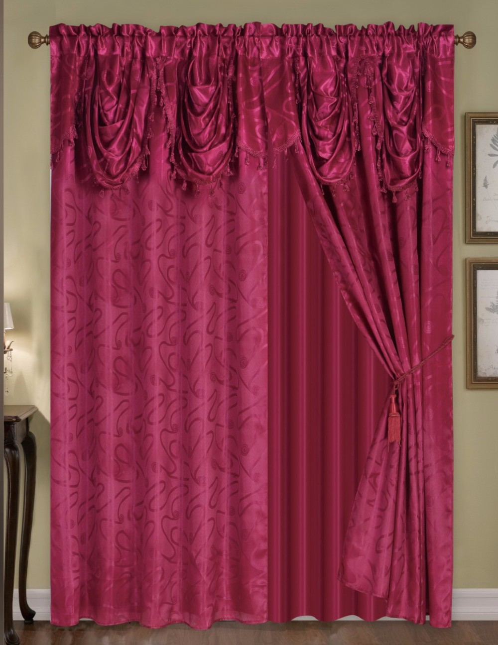 2PCS Pack Window Curtains And Drapes With Wave Valance And Tie Back