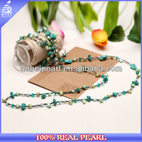 N-AB0014 4-5mm baroque pearl beaded hand made necklaces stone